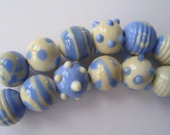 COUSINS - 6 Handmade Lampwork Glass Beads - Inv138-G1