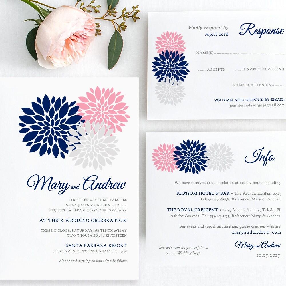 Navy blue, pink, blush, silver Wedding Invitation template printable ...