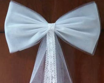 Wedding Pew Bows, White Tulle Pew Bow, Aisle Decor, Bridal Shower Decor, Tulle Wedding Decor, Chair Bows Ivory Pew Bow