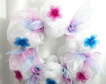 Ready to Ship - Spring Rainbow Wreath (Handmade) - White Wreath - Pink,Purple,Blue - Deco Wreath - Spring, Easter, Wedding Wreath
