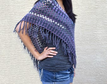 Crochet top poncho boho bohemian crochet wrap cape purple gray summer cover up festival top womens clothing gift for her