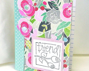 Floral friend mini notebook, Bright abstract flowers, Floral design, Mini notes, Pinks & aqua, Friendship gift, Miniature notebook