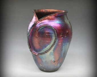 Raku Vase with Spiral in Metallic Iridescent Colors