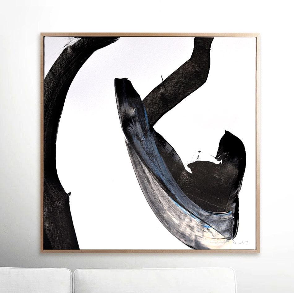 Große abstrakte druckbare Kunst schwarze Pinselstriche Platz