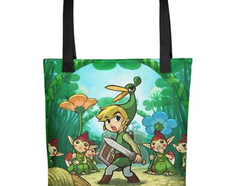 The Legend of Zelda: The Minish Cap Link and Ezlo Sublimation Tote Bag