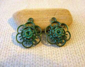 10 Verdigris Flower Charms | Green Copper | Patina Charms | Verdigris Charms | Verdigris Earrings | Verdigris Jewelry | Verdigris Copper