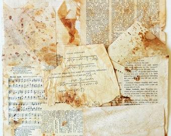 Coffee and Tea Dyed Vintage Paper Scraps, Paper Ephemera, Supplies, Scrapbooking, Mixed Media, Collage PE378