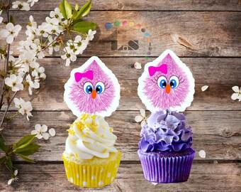 Pink Cutie monester cupcake toppers