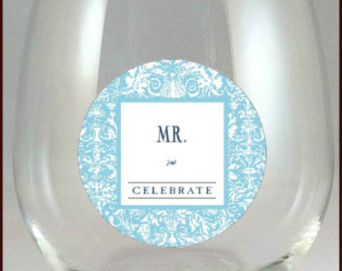 Mr. And Mrs. Glass Decals - Light Blue, Glass Not included - 2 pack