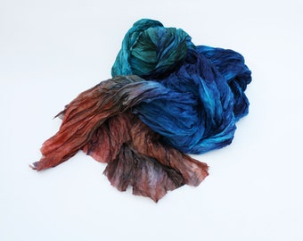 blue silk scarf - Acai Carafe  -  blue, purple, green, turquoise, red brown silk scarf.