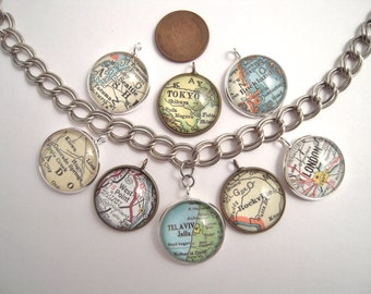 "Custom Map Charms Bracelet You Pick City Vintage Map Pendants Necklace 20MM 3/4"" Personalized Gifts Ideas"