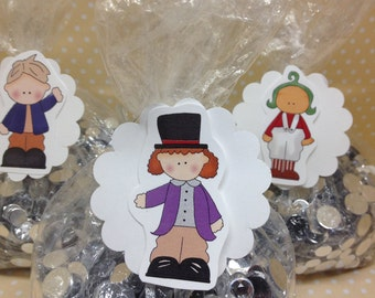 Willy Wonka Party Favor or Candy Bags with Tags - Set of 10