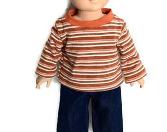 Striped T-shirt and Blue Jeans for 18 Inch Boy Doll, Orange Striped T-shirt, Boy Doll Clothes,  Winter Doll Clothes, Upcycled Shirt