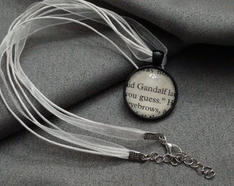 J.R.R Tolkien Gandalf  Cabochon necklace From  The Lord Of The Rings book pages N6
