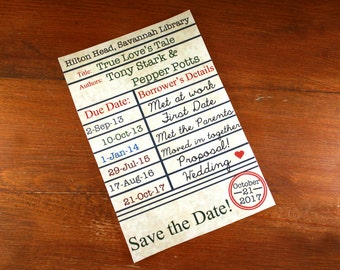 save the date library card digital