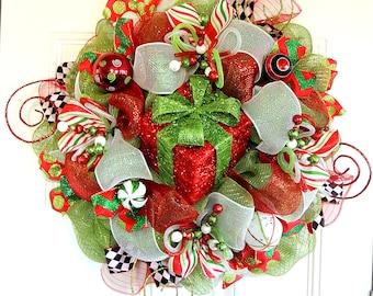 Lighted Present Christmas Deco Mesh Wreath Deco Mesh Christmas Wreath Git box Wreath whimsical Wreath Winter wreath