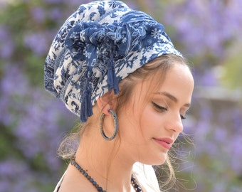 Amazing Soft Blue White Headscarf TICHEL, Hair Snood, Head Scarf, Head Covering, Jewish headcovering, Scarf, Bandana, Apron