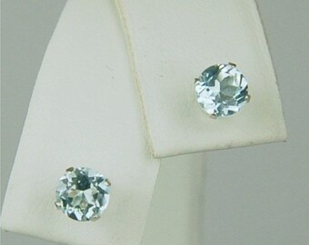 MothersDaySale Sky Blue Topaz Stud Earrings Sterling Silver 5mm Round 1.40ctw