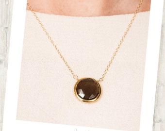 Smokey Quartz Delicate Gold-Rimmed Gemstone Round Drop Necklace, Quartz Necklace, Quartz Drop Necklace, Delicate Drop Necklace