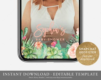 Succulent Baby Shower Snapchat Geo Filter  | Editable Geofilter | Succulent, Cactus, Fiesta, Summer | DC010