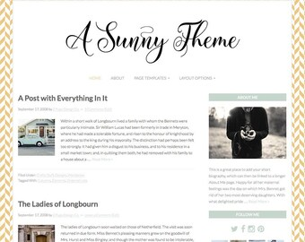 "Yellow Wordpress Theme, ""Sunny"" Feminine Wordpress Template, Genesis, Bloggers"