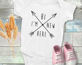 Hi I'm New Here Onesie - Funny baby onesie - Cool onesie