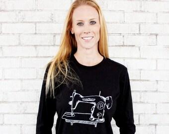 Ladies Sewing Machine T Shirt, Cotton Crewneck, Black, Women, Womens, Seamstress, Hand Printed, Screenprinted Shirt , Long Sleeved Supersoft