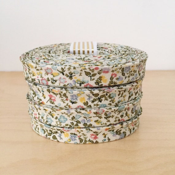 """Bias Tape- Liberty of London The English Garden Newland Large Pastel 1/2"""" double-fold binding- floral- 3 yard roll"""