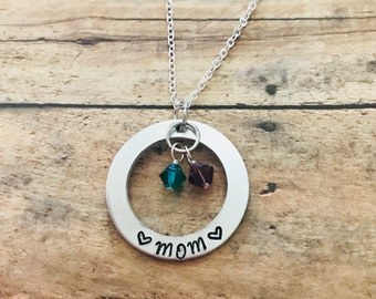Custom Handstamped Mother's Washer Necklace, Stamped Birthstone Necklace, Gift for Mom, Mother's Day Gift, Personalized Stamped Washer