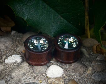 Wooden Crystal Plugs 18mm--unique--