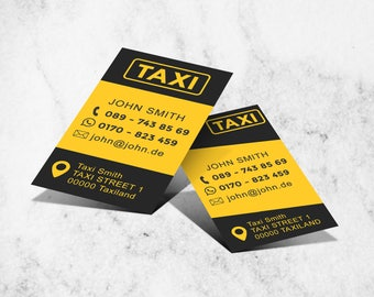 Taxi Cab - Business Card Template - 2 Versions included - 300dpi - Printable & Instant Download - Customizable in Photoshop psd