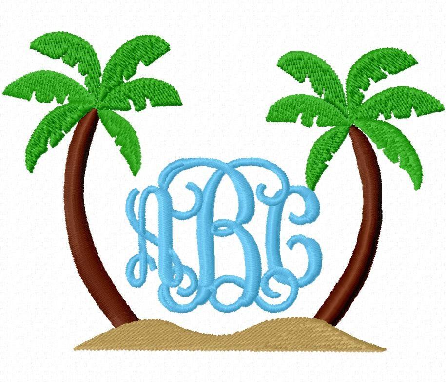 Palm Tree Monogram Embroidery Design