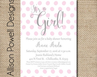 It's A Girl Pink Dots Baby Shower Invitation - Custom - DIY - Printed