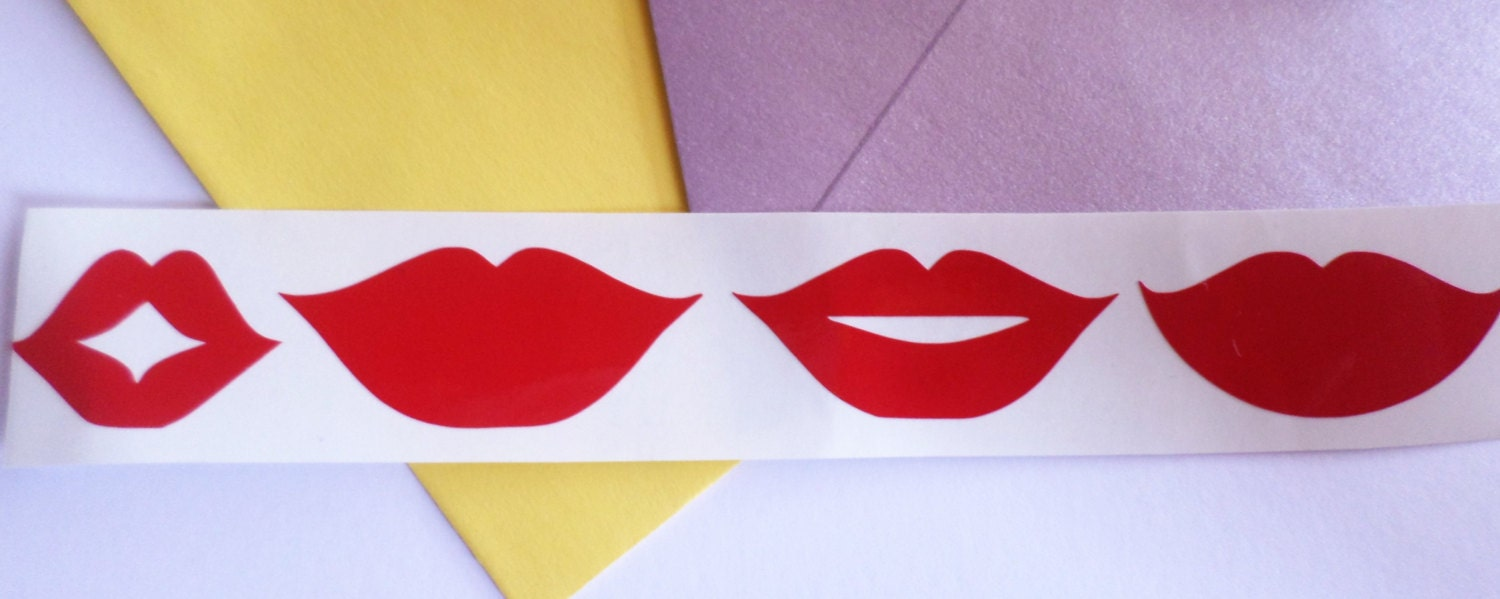 24 Red lips stickers Red lips decal Vinyl Wall Stickers Scrapbooking ...