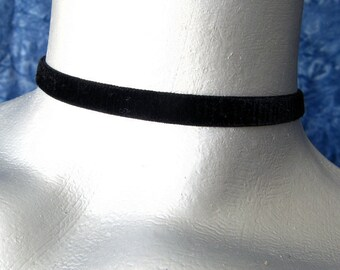 "Plain Black Velvet Ribbon Choker Necklace - 10mm or 3/8"" wide - Adjustable Length"