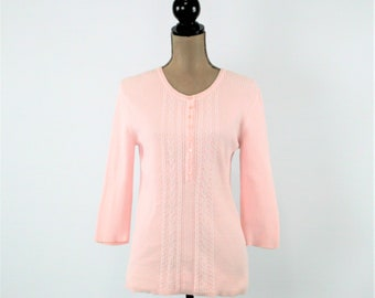 Light Pink Sweater Women Medium Spring Sweater Pastel Cotton Sweater 3/4 Sleeve Knit Top Pink Vintage Clothing Womens Clothing