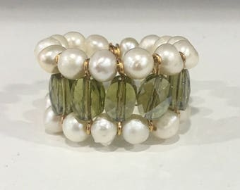 Pearl and Olive Green Crystal Ring