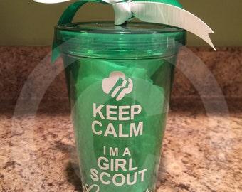 Keep Calm I'm a Girl Scout Leader Clear plastic tumbler w/Decorative Vinyl