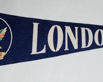 Original 1920s-'30s Era Felt Pennant for London, Ontario, Canada  -- Free US Shipping!