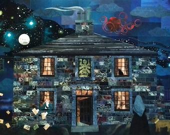 Brontë Sisters Art Print·Branwell·Collage·Folk Art·Spooky·Opium Dreams·Recycled Art·Haworth·Emily Bronte·Amanda White Design·Illustration
