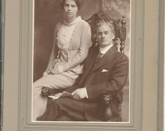 Antique 1900's Cabinet Photograph of Husband and Wife Turn of the Century Boston Massachusetts