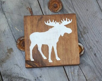 Nursery wall art, Wooden moose sign, Woodland rustic wood sign, Wood wall art, Rustic wood sign for home