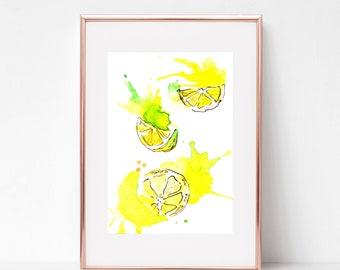 Lemons Watercolor Art / Jewelry / Watercolor /  Art Print / Printable art / Wall Decor / INSTANT DOWNLOAD