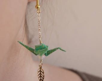 Origami birds Earrings - Green & Opale