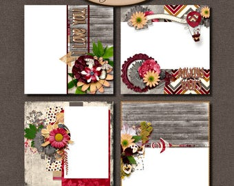 Digital Scrapbooking, Quick Pages, Premade Layouts, Romantic Love: Always Yours
