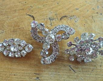 LOT Collection 3 Vintage Crystal Rhinestone Brooches Vintage Wedding