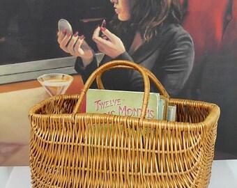 Vintage Wicker Shopping Basket/Vintage Wicker Handbag/Wicker Basket/Vintage Basket (Ref1993V)