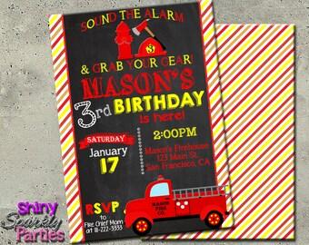 FIRETRUCK INVITATION, Firetruck birthday Invite, Vintage Firetruck, DIY printable fire engine, Fireman, Firemen, Firefighter, chalkboard,
