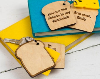 Cheese Keychain - Cheese Keyring - Cheese Key Ring - Cheese In My Sandwich Keyring Gift - Mother's Day Gift - Romantic Gifts - Gift for Mum