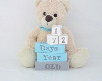Baby age blocks, milestone blocks, baby photo prop, milestone age blocks, wooden age blocks - cream, ice blue and grey